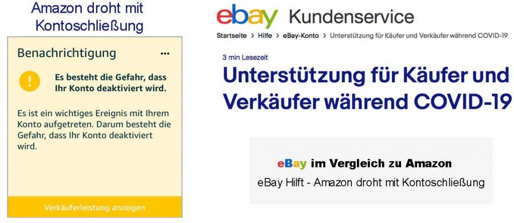 Amazon droht mit Konten deaktivierung - eBay hilft in Corona Krise