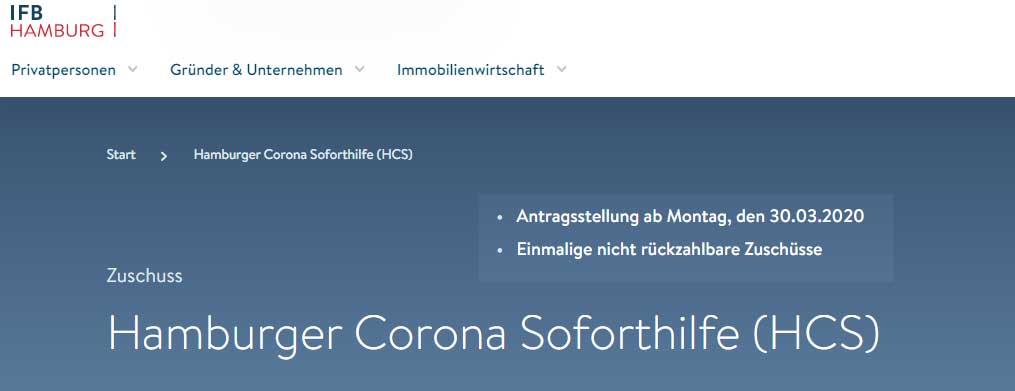 Corona Soforthilfe beantragen für Hamburg